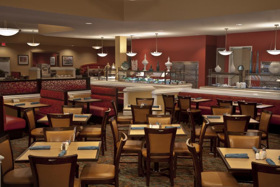 Cafe Matisse offers menu dining and buffets three times daily for guests on the go.