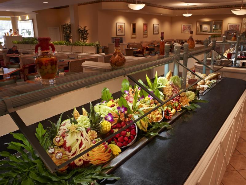 Three-times daily extensive buffets at Rosen Plaza's Cafe Matisse.
