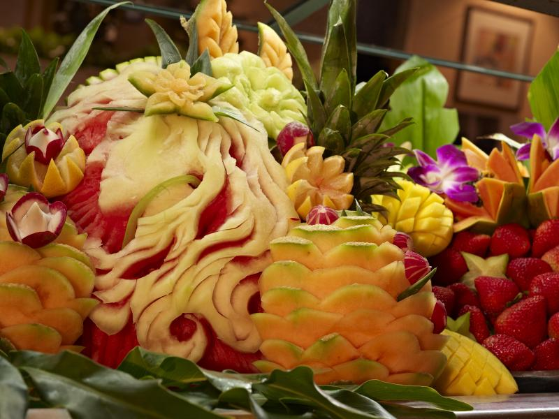 Chef Ricky Lopez's handiwork adorns the hotel's buffets and catered events.
