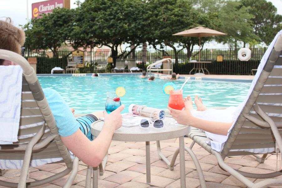 Enjoying Drinks by the Pool