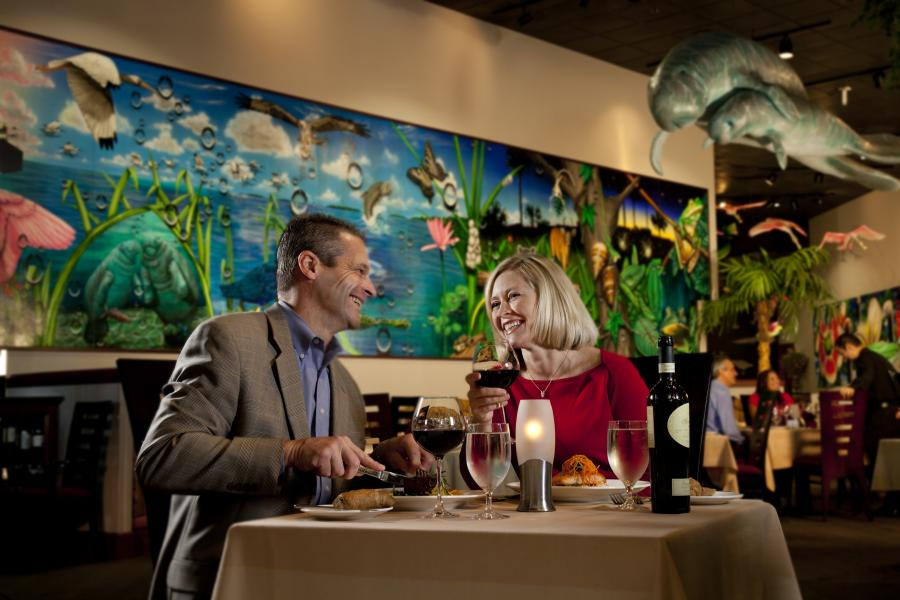 Couple Dining at Everglades Restaurant and Bar