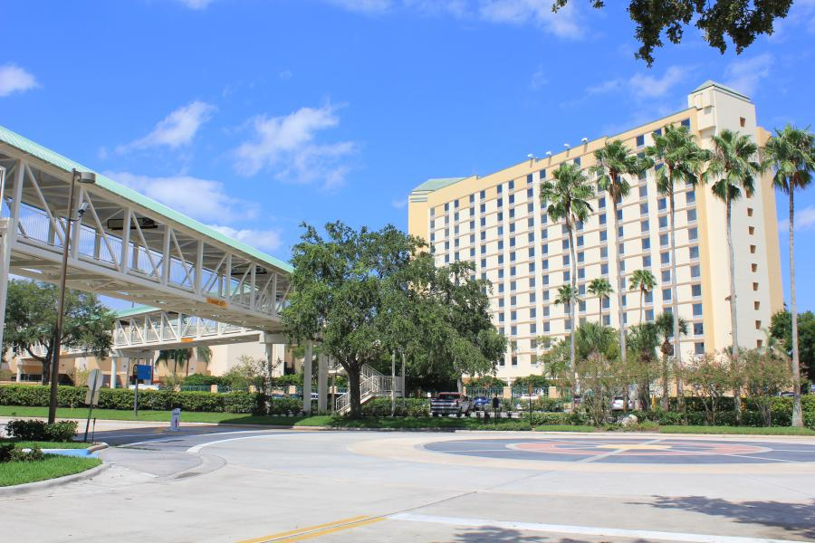 The Gary Sain Memorial Skybridge conveniently connects Rosen Plaza to the OCCC.