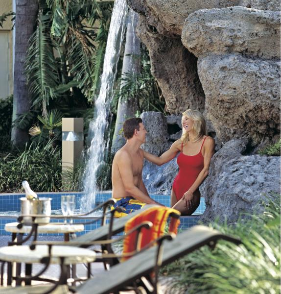 Rosen Plaza's whirlpool with cascading waterfall, the perfect place for poolside relaxation.