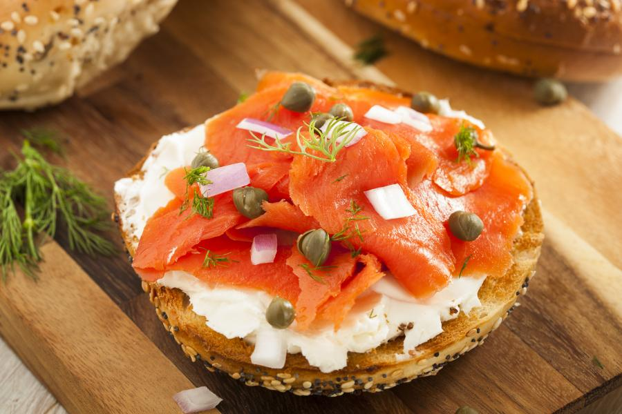 Kosher Kitchen Stock Photo - Lox Bagel