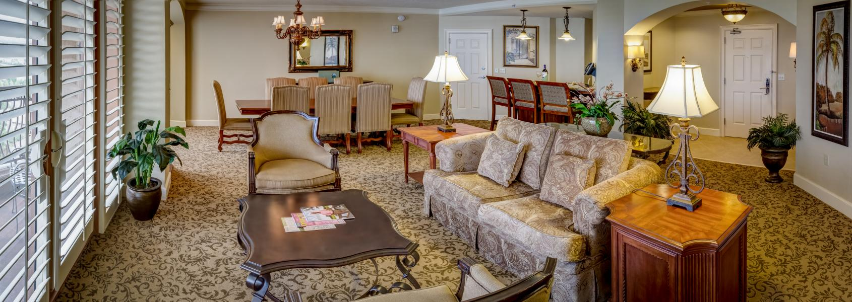 One of Rosen Shingle Creek's Grand Parlors featuring contemporary furnishings and scenic views.