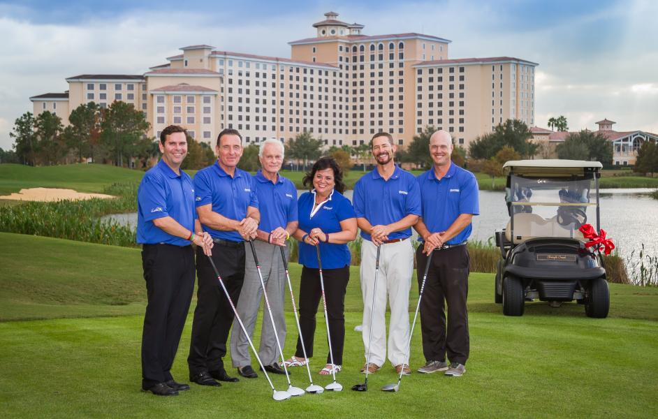 Rosen Reveal Famous Encounters -- Arnold Palmer Design Company head designer Thad Layton (second from the right) is joined by the Shingle Creek  Golf Course team for the 2017 unveiling of the course's innovative redesign spearheaded by Layton's team.