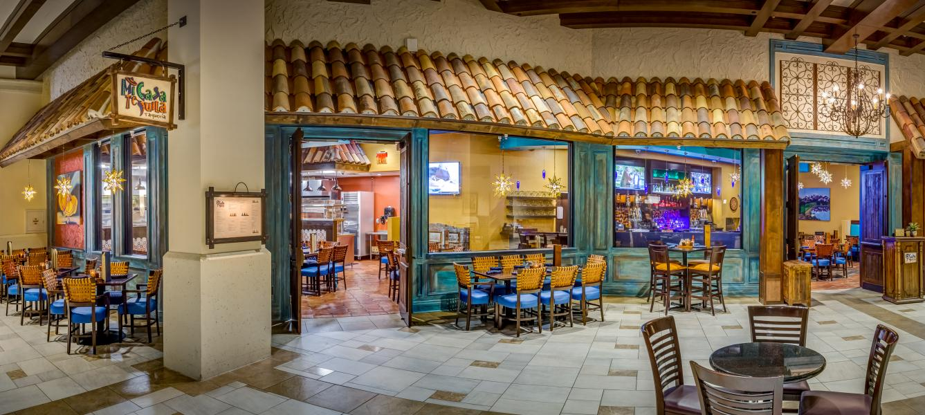 The inviting Mexican decor of Mi Casa Tequila Taqueria.