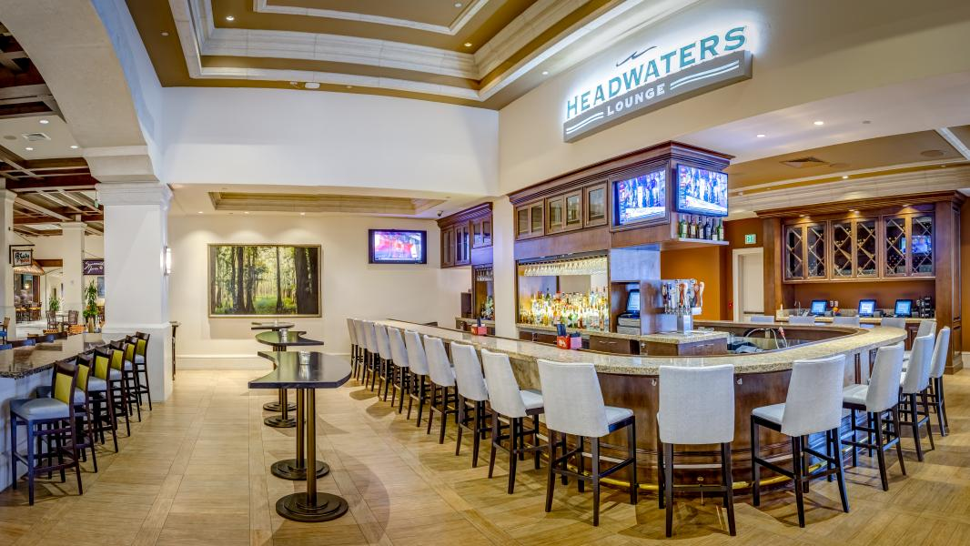 "The newly refreshed (Spring 2017) Headwaters Lounge, centrally located in the hotel's ""Dining & Sp"