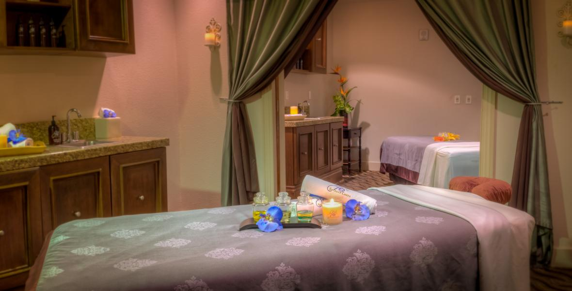 The Spa at Shingle Creek's massage room for couples to enjoy treatments together.