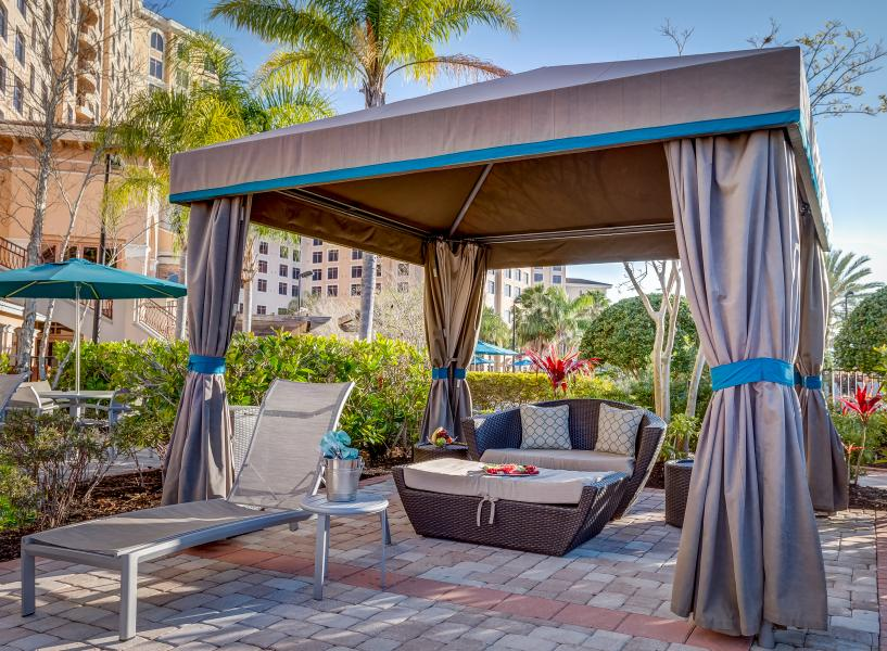 Tranquil cabana by the quiet pool, one of Rosen Shingle Creek's four outdoor swimming pools.