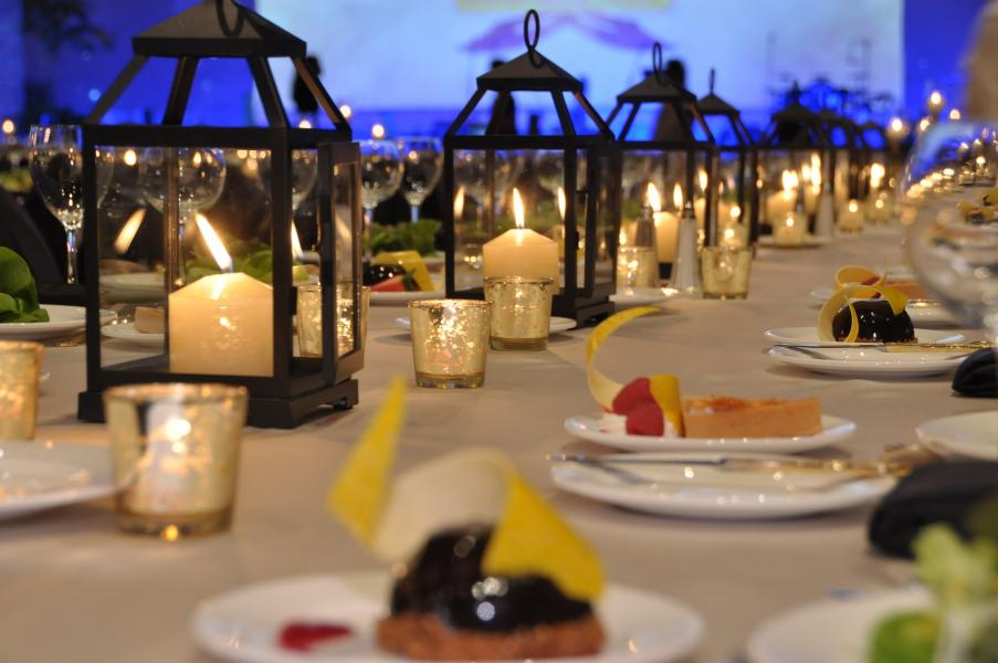 An exquisite banquet set-up for thousands graces the Gatlin Ballroom.