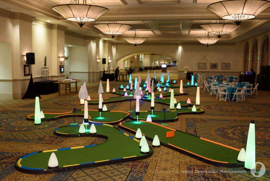 Indoor golf in a prefunction area, courtesy of Experiences By Hello! Destination Management.