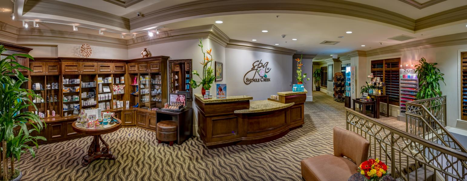 The Spa at Shingle Creek reception area features the latest beauty and wellness products.