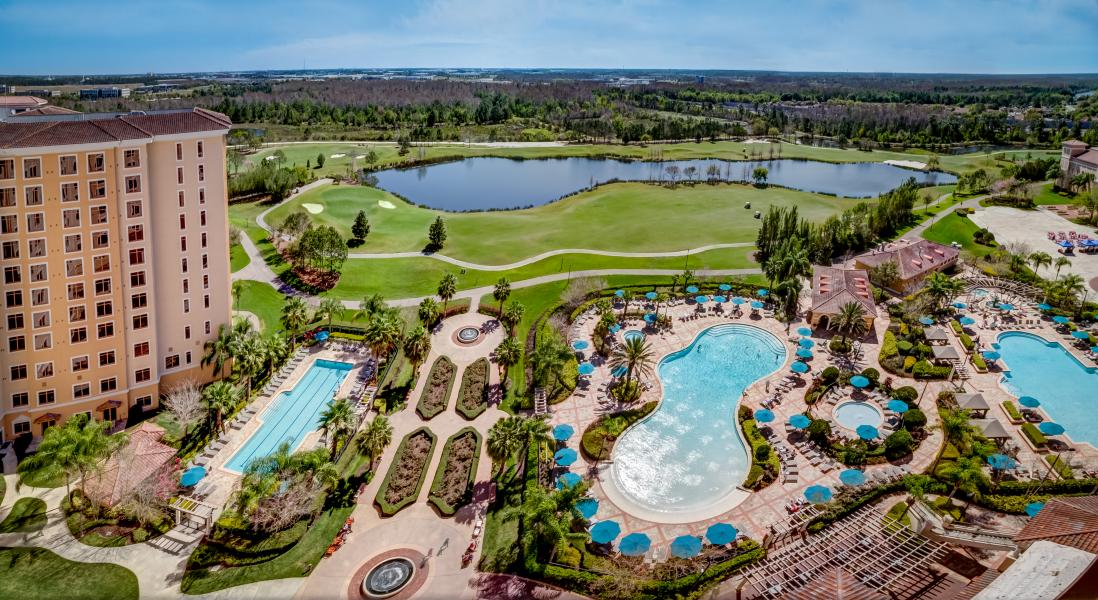 Sky-high view of Rosen Shingle Creek's four outdoor swimming pools.