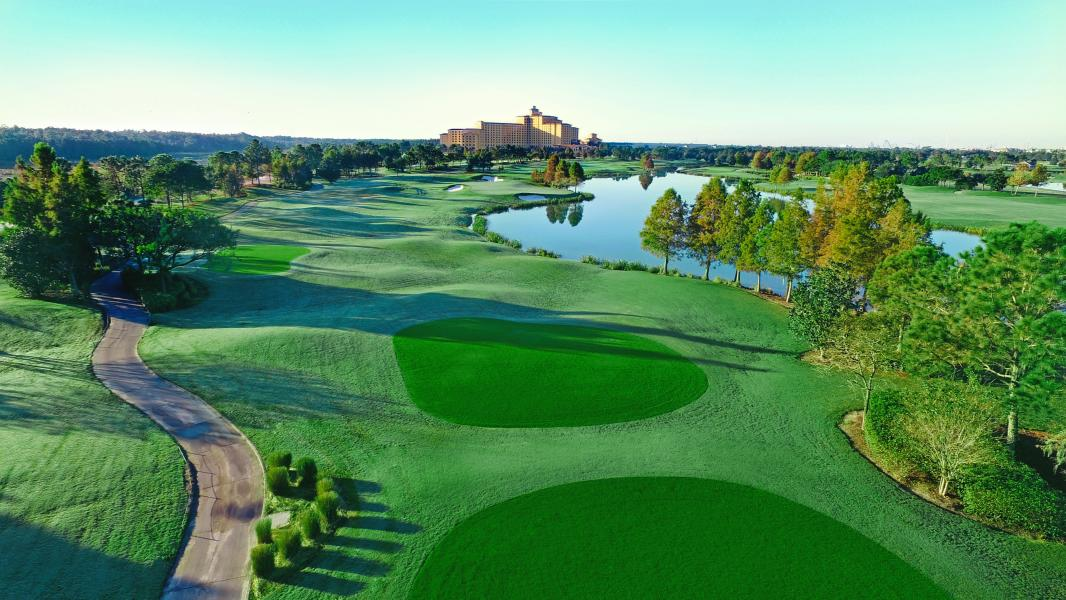 A birds eye view of the lush Shingle Creek Golf Course.