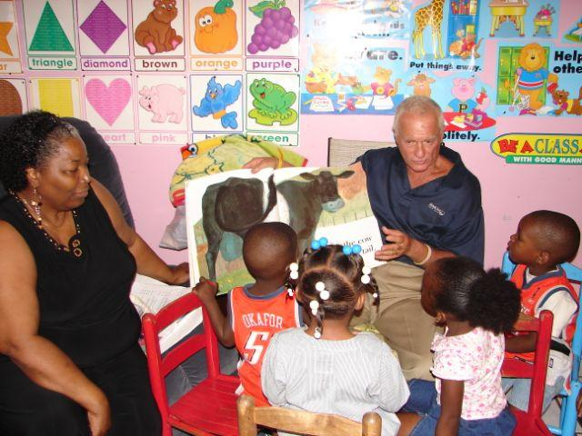 (2011) Harris Rosen visiting one of ten Tangelo Park home childcare facilities.