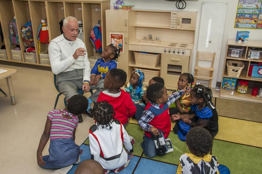 Rosen Reveal -- Harris Rosen visits children at the new Rosen Preschool at the new OCPS Academic Center for Excellence (ACE) in the Parramore District in Orlando.