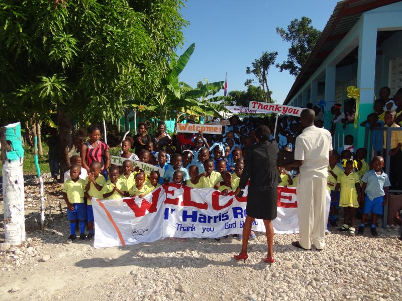 Dec. 2017 (Haiti) A hero's welcome for Harris Rosen in anticipation of his arrival in Haiti.