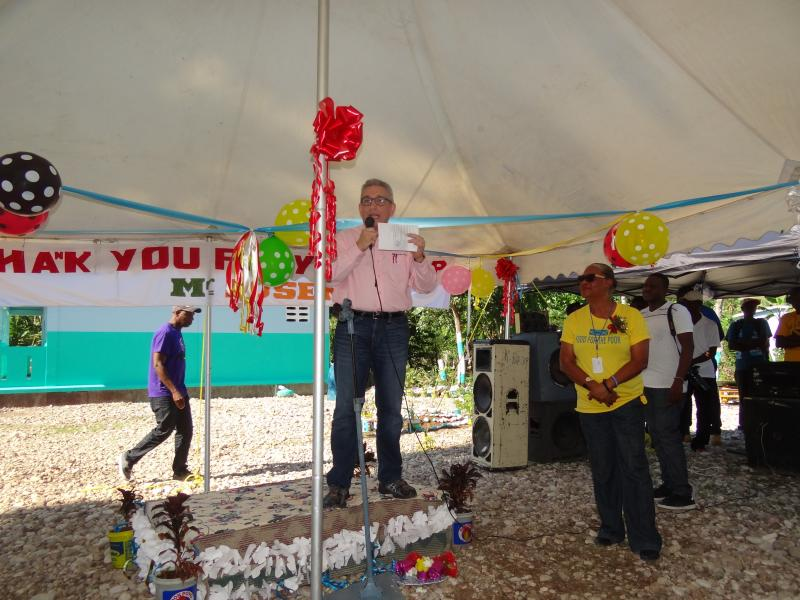 Dec. 2017 (Haiti) Food for the Poor Executive Director Angel Aloma at the school dedication.