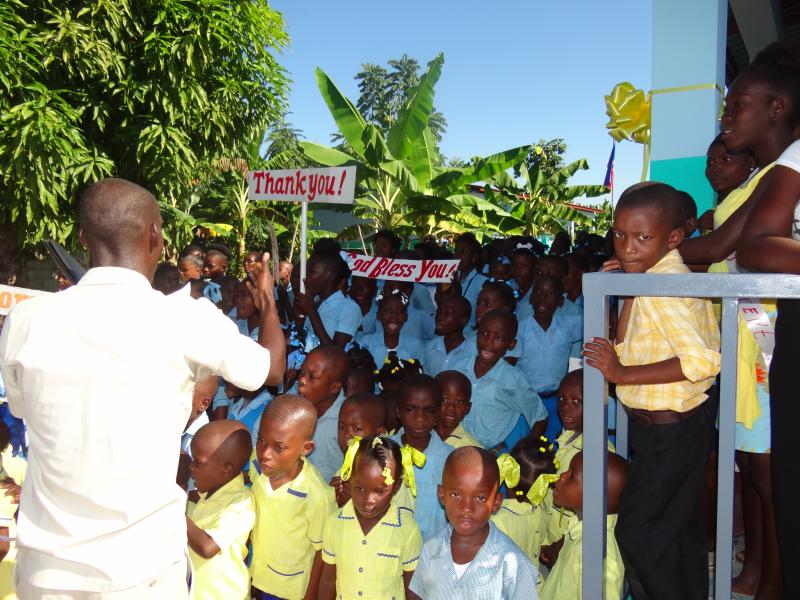 Dec. 2017 (Haiti) The signs of the time -- ready for Harris Rosen's visit to their school.