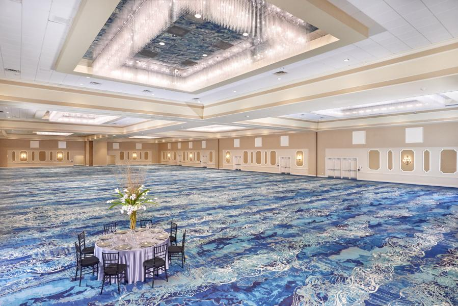 Rosen Plaza showcases new contemporary carpeting in its 26,000 sq. ft. Grand Ballroom.