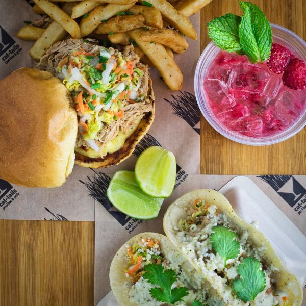 Cat-Tails Pool Bar & Grille - Jerk Chicken Sandwich & Mahi Mahi Tacos with Raspberry Mojito