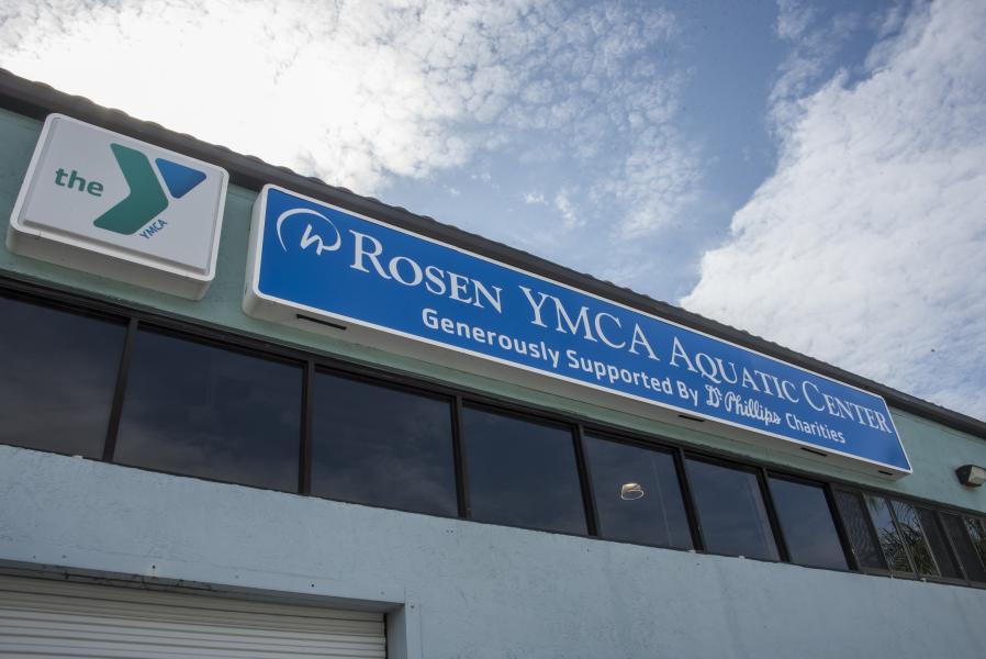Rosen YMCA Aquatic Center Renaming Ceremony New Sign