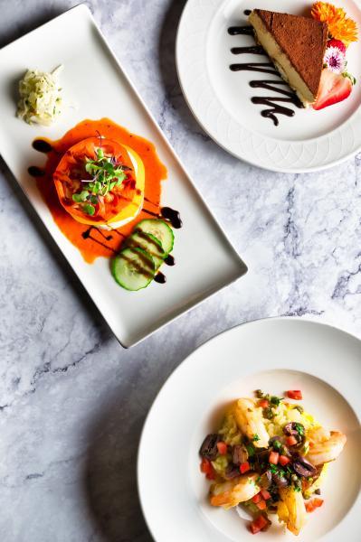Cala Bella Shrimp Scampi and Caprese Salad