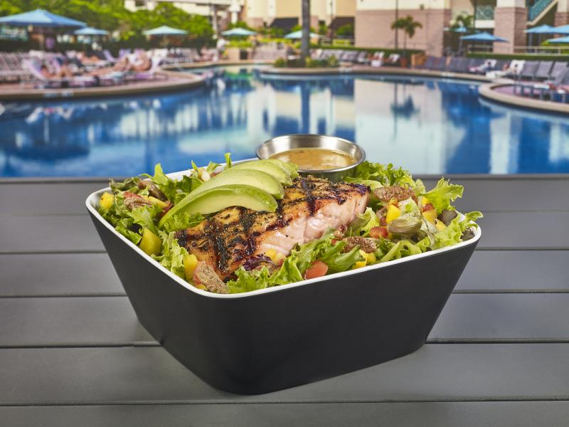 Grilled Salmon Salad poolside