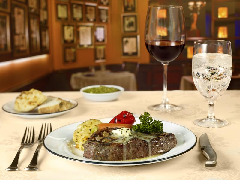 12 ounce Prime New York Steak casual back drop