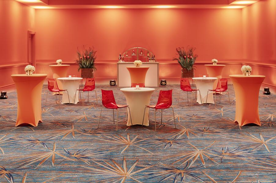 Gatherings in the Suwannee meeting room are energized amid the new vibrand color palette and contemporary carpeting.