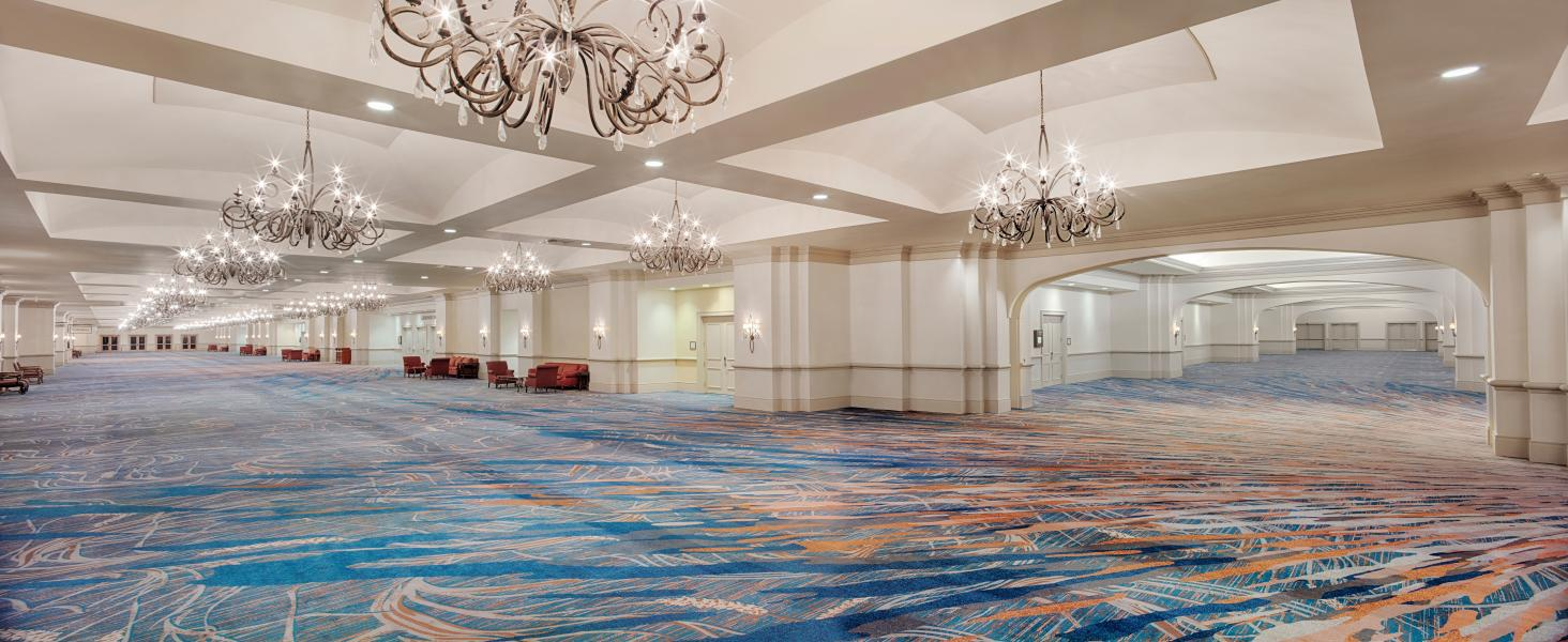 The newly-carpeted, expansive Gatlin Ballroom reception area.