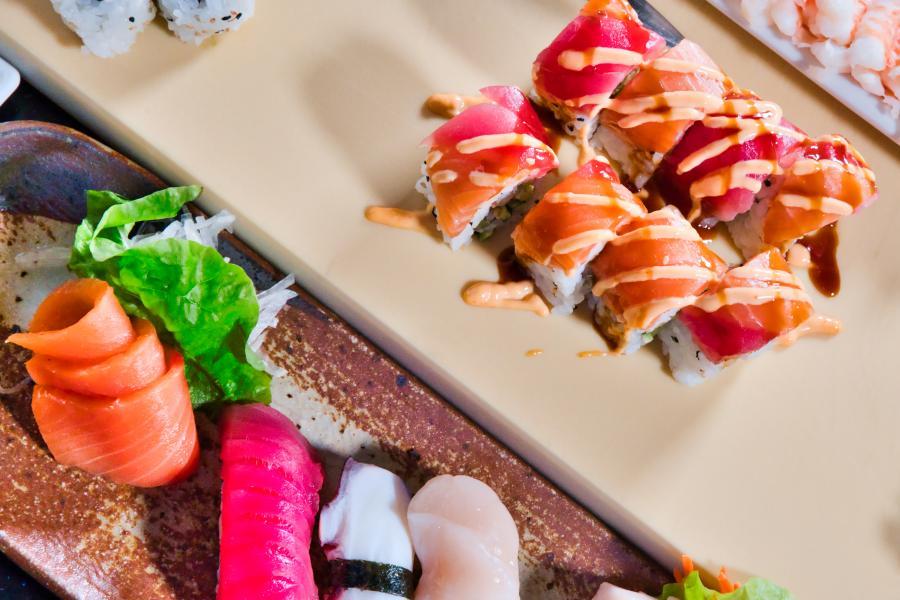 Shogun Sakura Sushi Overhead Close up Sushi Rolls