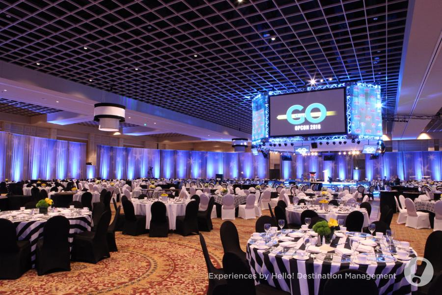 The column-free Gatlin Ballroom, set-up by Experiences By Hello! Destination Management.